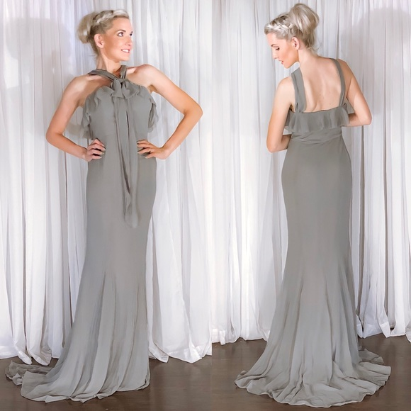 Quillaree Dresses & Skirts - Grey Extra Long Bridesmaid Dress Silk